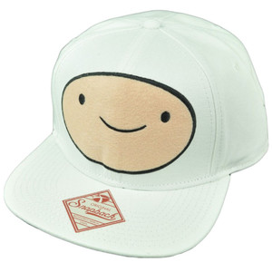 Adventure Time Cartoon Finn Big Face Snapback White Flat Bill Hat Cap Tv Show