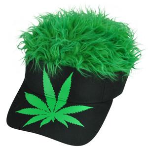 Marijuana Cannabis Weed Leaf Plant Visor Green Flair Faux Fur Hair Visor Hat Cap