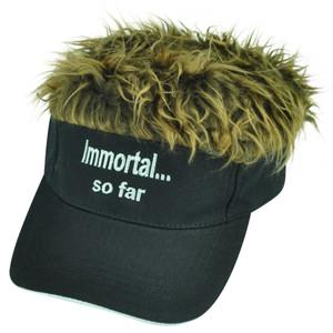 Immortal So Far Flair Faux Hair Brown Black Adjustable Velcro Hat Visor Sun Cap