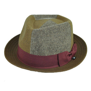 Block Headwear Herringbone Bow Wool Brown Maroon Fedora Trilby Stetson Hat Large