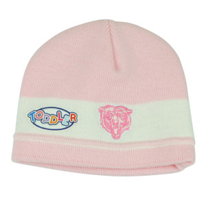NFL Chicago Bears Pink Girl Toddler Cuffless Knit Beanie Winter Team Apparel