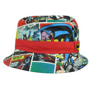 Batman Super Hero Cartoon Comic Book Strip Dye Sublimated Sun Bucket Hat Youth