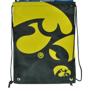 NCAA Iowa Hawkeyes Drawstring Back Pack Book Bag School Red Gym Travel Black