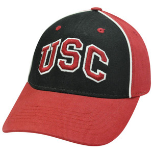 NCAA Southern California Trojans Velcro Adjustable Two Tone Hat Cap Black Maroon