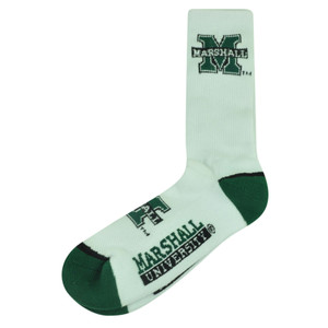 NCAA Marshall Thundering Herd Mens Large 8 - 13 Socks Long White Green Spirit