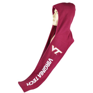 NCAA Virginia Tech Hokies Fleece Hooded Scarf  Winter Warmth Game Fan Maroon