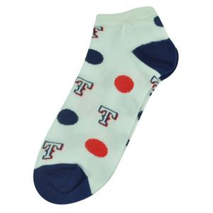MLB Texas Rangers Womens Medium 6 - 11 Ankle Polka Dots White Socks Fan Spirit