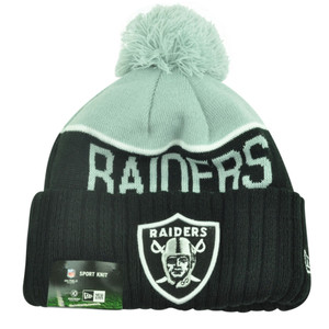 NFL New Era Oakland Raiders Sport Knit Beanie Pom Pom Cuffed Hat Winter Toque