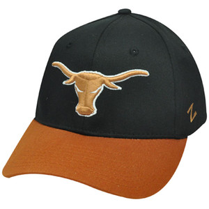 HAT CAP NCAA TEXAS LONGHORNS AUSTIN ZEPHYR SMALL STRETCH FLEX FIT BLACK ORANGE