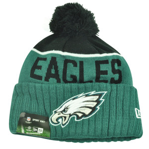 NFL New Era Philadelphia Eagles Sport Knit Beanie Pom Pom Cuffed Hat Winter