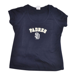 MLB San Diego Padres Arched Logo Tshirt Tee Womens Ladies Shirt Navy SD