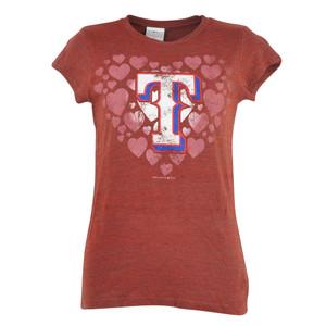MLB Texas Rangers Women Heart Distressed Glitter Tshirt Tee Rhea Ladies