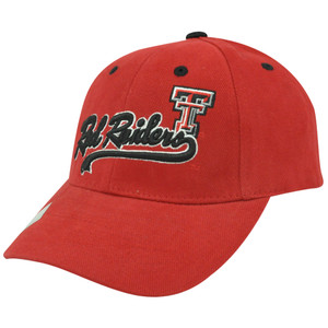 NCAA Red Raiders Texas Tech TTU Script Curved Bill Adjustable Velcro Hat Cap Red