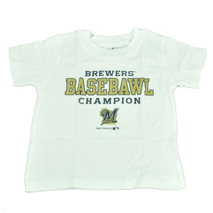 MLB Milwaukee Brewers Carroll Toddler Basebawl Champions White Tshirt Tee Boy