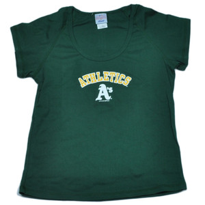 MLB Oakland Athletics Womens Tshirt Tee Green Ladies Short Sleeve Cotton Fan
