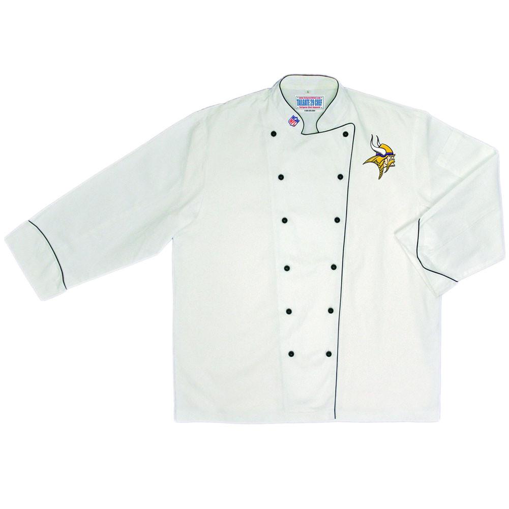 Nfl Minnesota Vikings Premium Chef Coat Professional Style Tailgate