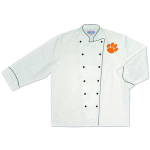 NCAA Clemson Tigers Premium Chef Coat Professional Style Tailgate White