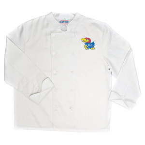 NCAA Kansas Jayhawks Classic Chef Coat Professional Style Tailgate White