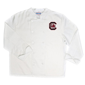 NCAA South Carolina Gamecocks Classic Chef Coat Professional Style White