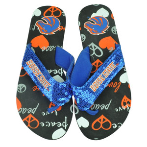 NCAA Boise State Broncos Womens Sequin Thong Sandals Flip Flop Beach Comfy