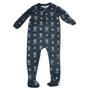NBA UNK Brooklyn Nets Toddler Footed Pajamas Bodysuit Zipper Sleep Wear Black