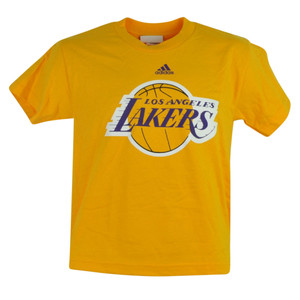 NBA Los Angeles Lakers Deerlodge Jr Youth Shirt Tee Yellow Tshirt Adidas