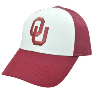 NCAA Oklahoma Sooners OU White Maroon Adjustable Velcro Two Tone Curved Bill Hat