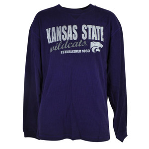 NCAA Kansas State Wildcats Cellars Thermal Long Sleeve Purple Shirt Mens Adult