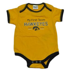 NCAA Iowa Hawkeyes My First Team Bodysuit Creeper Yellow Baby Infant Cotton