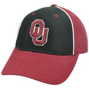 NCAA Oklahoma Sooners Adjustable Velcro Two Tone Curved Hat Cap Black Burgundy