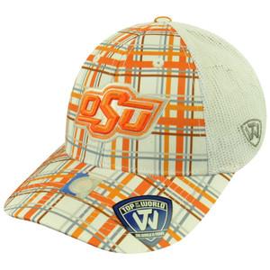 NCAA Top the World Oklahoma State Cowboys Empire Plaid Mesh Sun Buckle Hat Cap