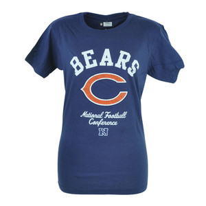 NFL Chicago Bears Kick Off Women Ladies Distressed Navy Blue Tshirt Tee