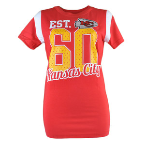 NFL Kansas City Chiefs Adams 1960 Women Ladies Tshirt Red Football Tee