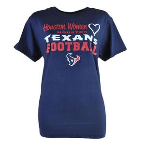 NFL Houston Texans Love Women Ladies Tshirt Football Navy Blue Shirt Tee