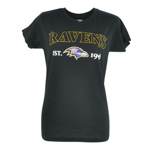 NFL Baltimore Ravens Jabra Women Ladies Football Tshirt Black VNeck Tee