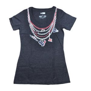 NFL Houston Texans Chains Women Ladies Heather Navy Tshirt Football Tee