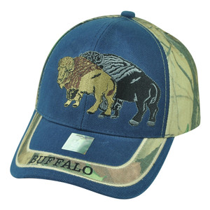 Buffalo Wild Animal Camouflage Camo Two Tone Outdoors Velcro Hat Cap Blue Camp