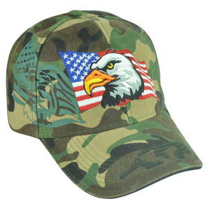 Military USA Camouflage Camo Hat Cap Velcro Bald Eagle Army Adjustable Proud