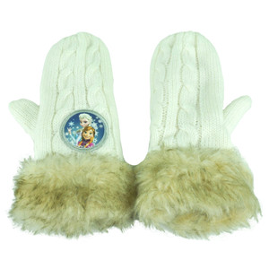 Disney Frozen Anna Elsa Girls Youth Faux Fur Mittens Winter Mitts Gloves Fleece