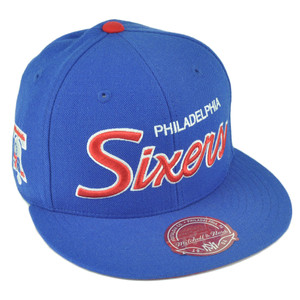 NBA Mitchell Ness G023 Philadelphia Sixers Fitted Flat Bill Script Hat Cap