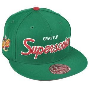 NBA Mitchell Ness G023 Seattle Supersonics Fitted Flat Bill Script Hat Cap