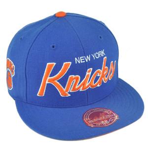 NBA Mitchell Ness G023 New York Knicks Fitted Flat Bill Script Hat Cap