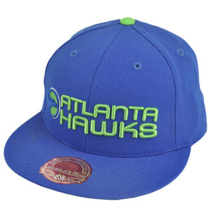 NBA Mitchell Ness TK40 Atlanta Hawks Blue Alternate Fitted Flat Bill Hat Cap