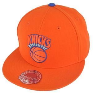 NBA Mitchell Ness TK07  New York Knicks Orange Team Second Fitted Hat Cap