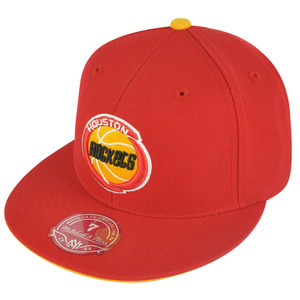NBA Mitchell Ness TK07  Houston Rockets Red Team Second Fitted Hat Cap