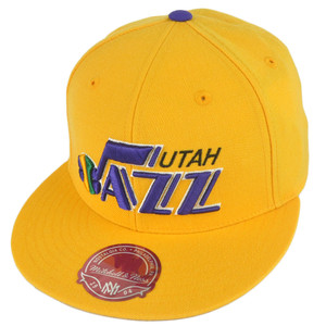 NBA Mitchell Ness TK07 Utah Jazz Team Second Fitted Flat Bill Hat Cap