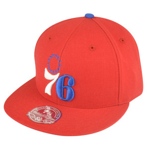 NBA Mitchell Ness Philadelphia 76ers Red TK41 Alternate 2 Fitted Hat Cap