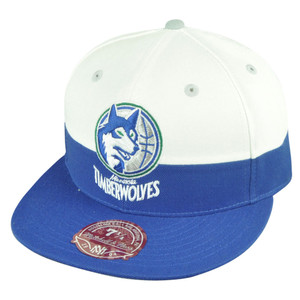 NBA Mitchell Ness Minnesota Timberwolves G058 Half Fitted White Hat Cap