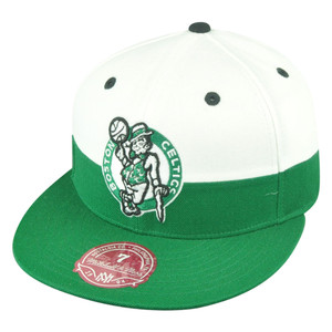 NBA Mitchell Ness Boston Celtics G058 Half Fitted White Hat Cap