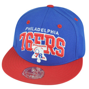 NBA Mitchell Ness Philadelphia 76ers TU14 2 Tone Arch Fitted Hat Cap